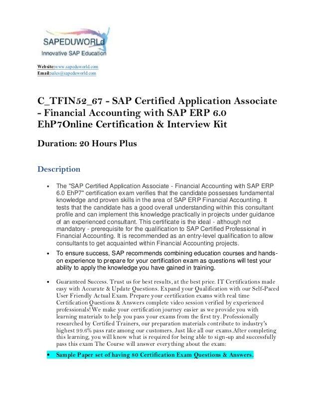 C_TFIN52_67 - SAP Certified Application Associate
