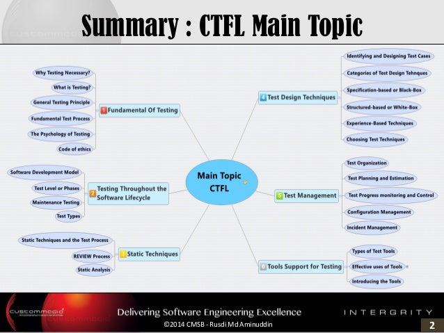 2©2014 CMSB - Rusdi Md Aminuddin Summary : CTFL Main Topic