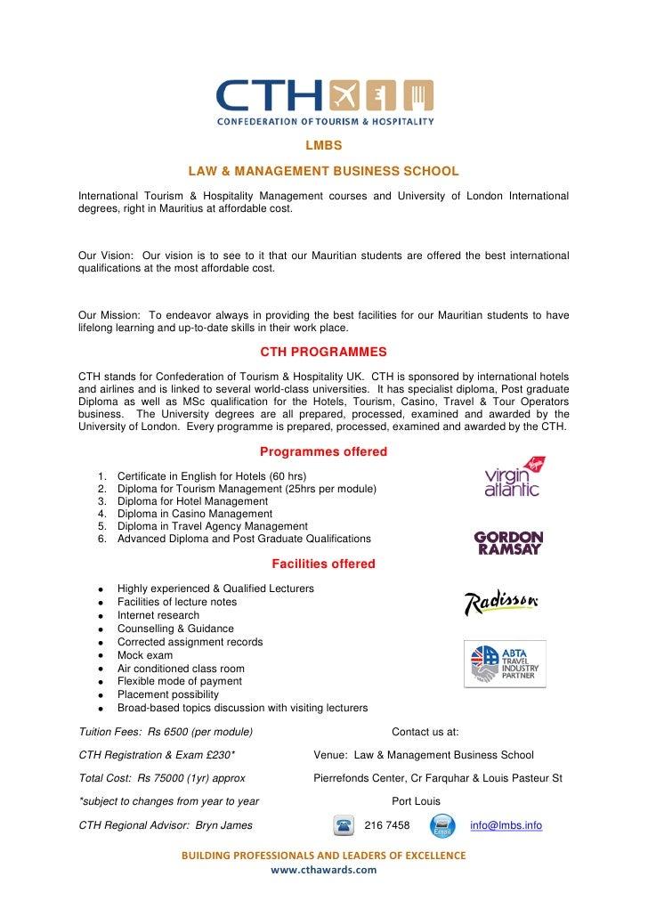 Cth International Tourism Amp Hospitality Courses