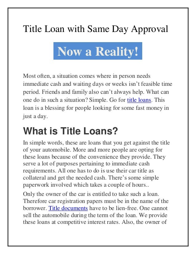 Car Title Loan with Same Day Approval - Check Eligibility Slide 2