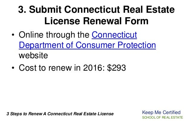 renew a connecticut real estate license online 2016