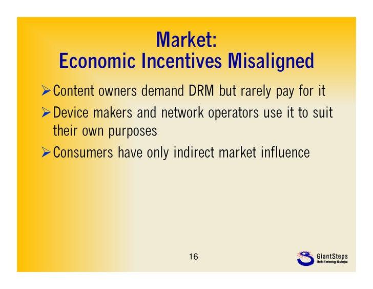 Market:   Economic Incentives Misaligned   E     i I     ti    Mi li dContent owners demand DRM but rarely pay for itDev...