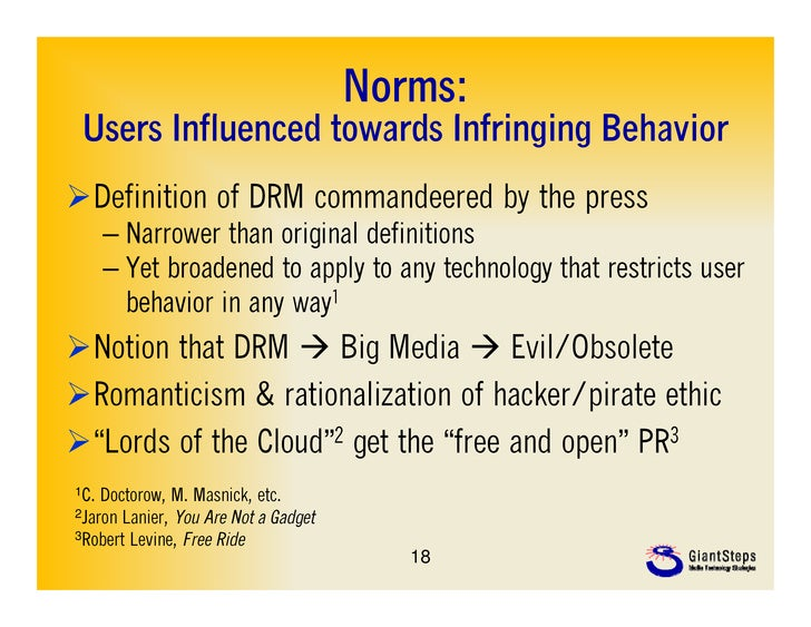 Norms: Users Influenced towards Infringing B h i U     I fl     dt     d I f i i BehaviorDefinition of DRM commandeered b...