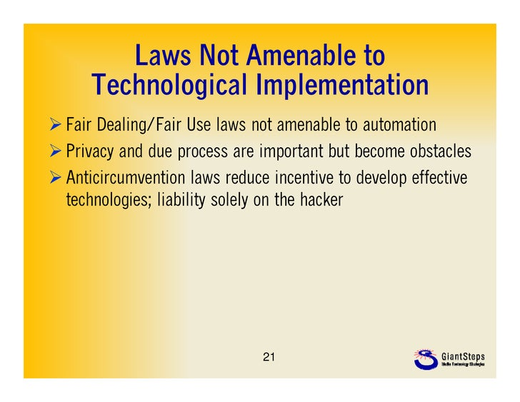 Laws Not Amenable to      Technological Implementation      T h l i lI l          t ti Fair Dealing/Fair Use laws not ame...