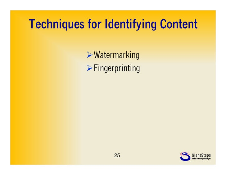 Techniques for Identifying Content           Watermarking           Fingerprinting                  25