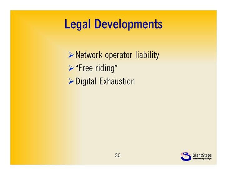 "Legal DevelopmentsNetwork operator liability""Free riding""Digital Exhaustion             30"