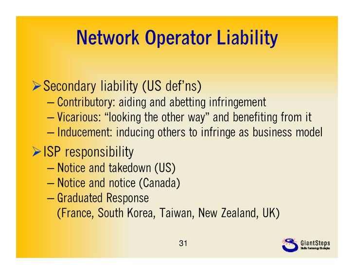 Network Operator LiabilitySecondary liability (US def'ns)                         def ns)   – Contributory: aiding and ab...
