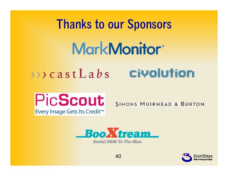 Thanks to our Sponsors           40