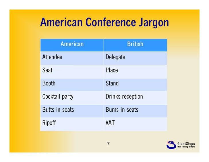 American Conference Jargon         American              BritishAttendee            DelegateSeat                PlaceBooth...