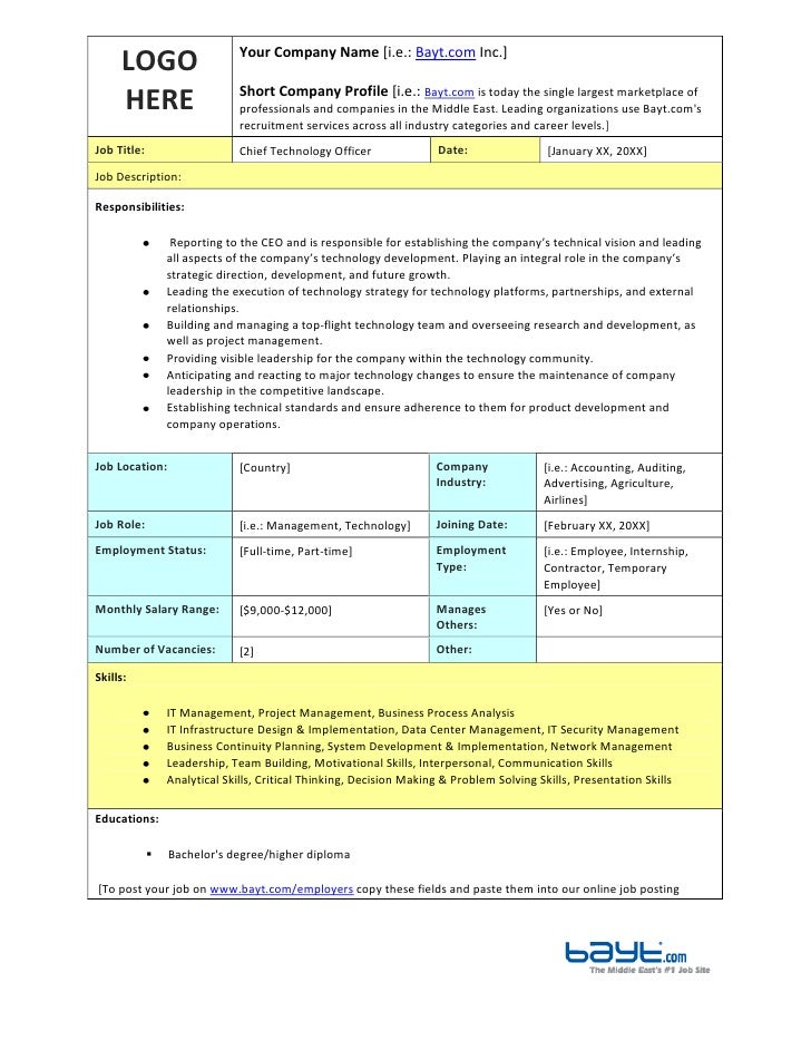 Chief Technology Officer Job Description Template By BaytCom