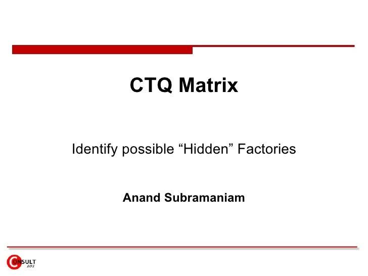 "CTQ Matrix Identify possible ""Hidden"" Factories Anand Subramaniam"