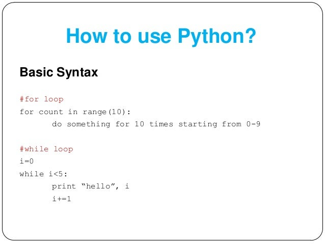 how to write a for loop in python