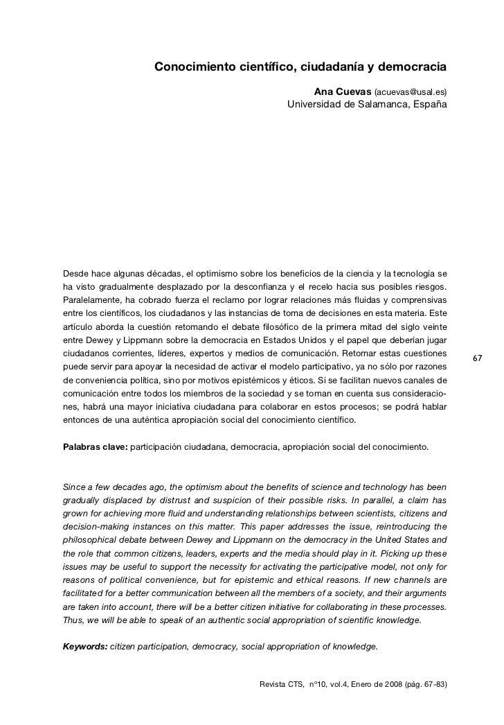Conocimiento científico, ciudadanía y democracia                                                                 Ana Cueva...