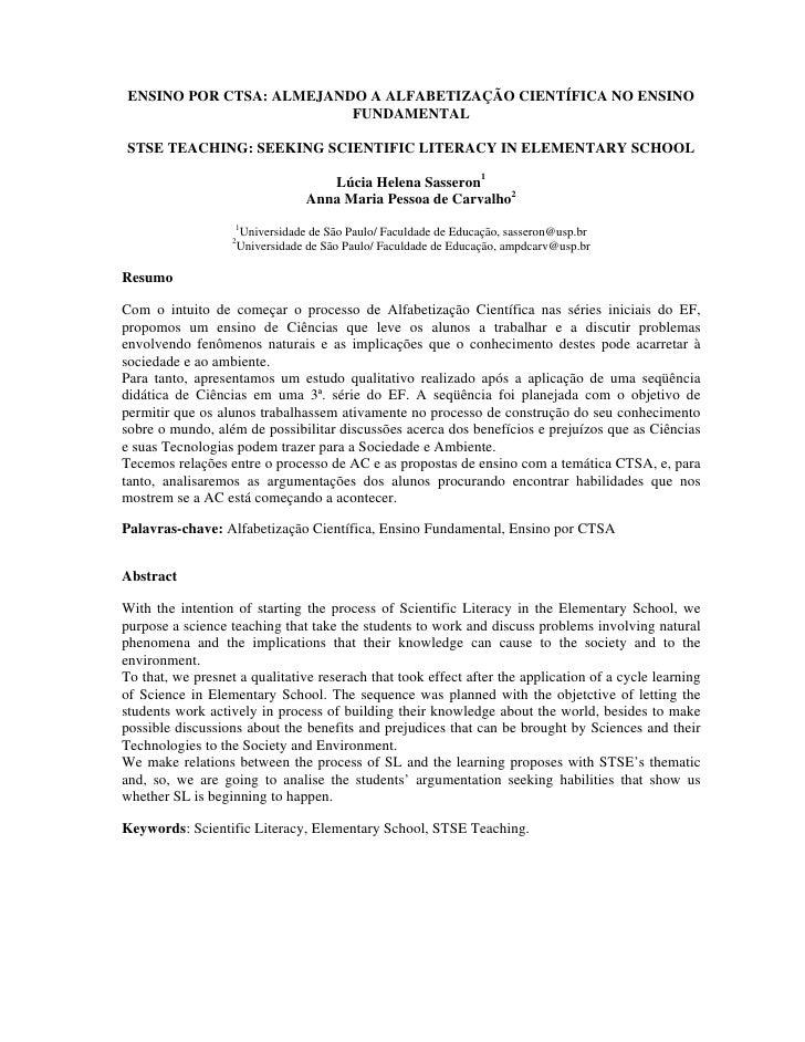 ENSINO POR CTSA: ALMEJANDO A ALFABETIZAÇÃO CIENTÍFICA NO ENSINO                           FUNDAMENTAL   STSE TEACHING: SEE...