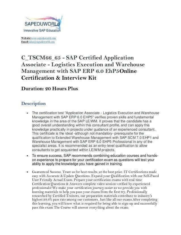 C_TSCM66_65 - SAP Certified Application Associate