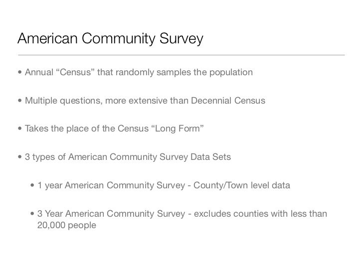 american community survey essay Community challenges taking in consideration the provided the morbidity and mortality statistical information provided by the world health organization-global health risks (2009), center of disease control and prevention (2013), the american heart association (2013) and the pennsylvania department of health (2013), african americans in the hill.
