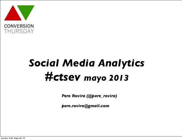Social Media Analytics#ctsev mayo 2013Pere Rovira (@pere_rovira)pere.rovira@gmail.comjueves, 9 de mayo de 13