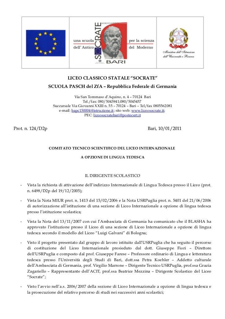 """LICEO CLASSICO STATALE """"SOCRATE""""                   SCUOLA PASCH del ZfA – Repubblica Federale di Germania                 ..."""