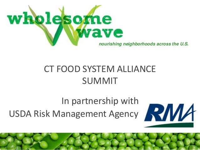 CT FOOD SYSTEM ALLIANCE SUMMIT In partnership with nourishing neighborhoods across the U.S. USDA Risk Management Agency