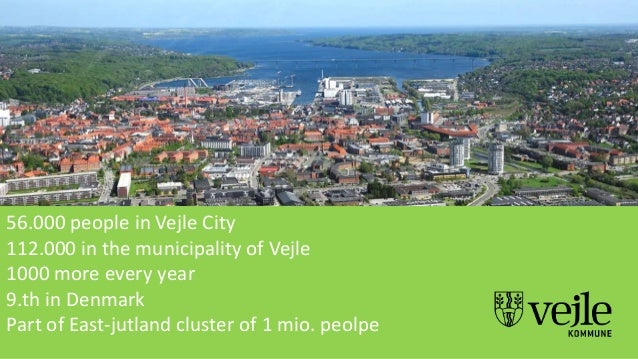 56.000 people in Vejle City 112.000 in the municipality of Vejle 1000 more every year 9.th in Denmark Part of East-jutland...