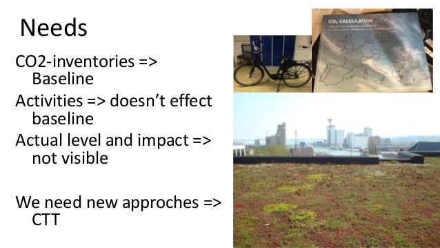 Needs CO2-inventories => Baseline Activities => doesn't effect baseline Actual level and impact => not visible We need new...