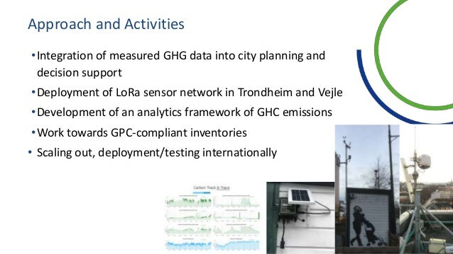 Approach and Activities •Integration of measured GHG data into city planning and decision support •Deployment of LoRa sens...