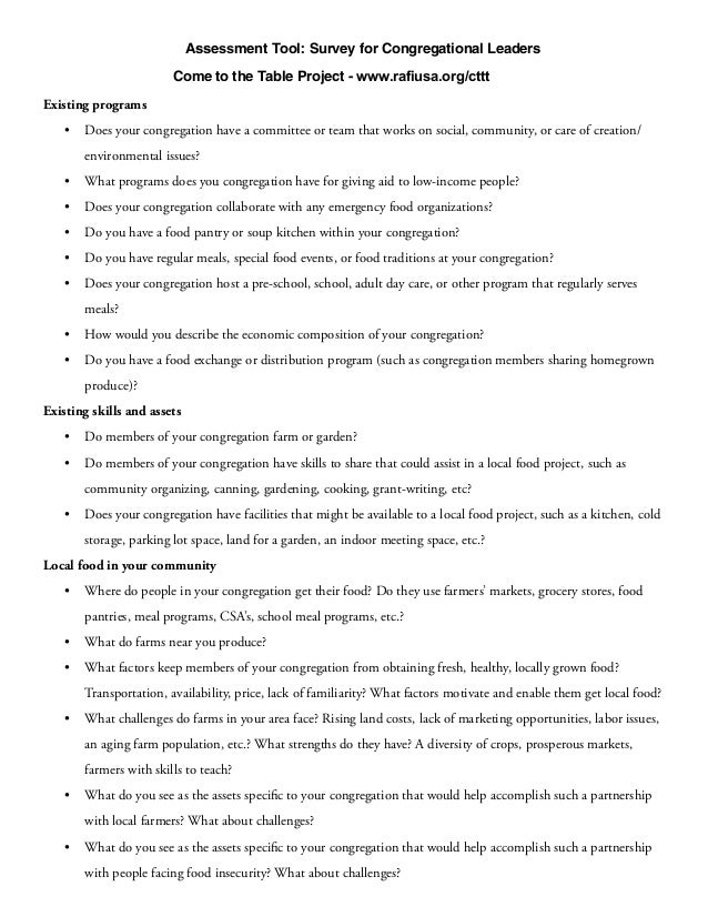 Assessment Tool: Survey for Congregational Leaders                        Come to the Table Project - www.rafiusa.org/cttt...