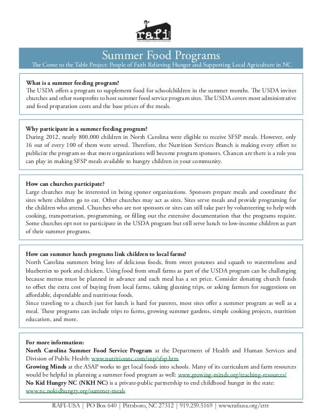 Summer Food Programs  The Come to the Table Project: People of Faith Relieving Hunger and Supporting Local Agriculture in ...