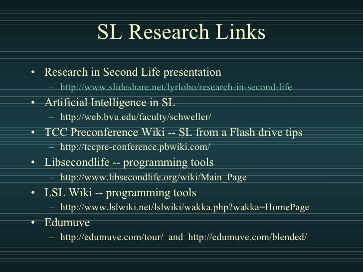 CTU Presentation on Research in Second LIfe
