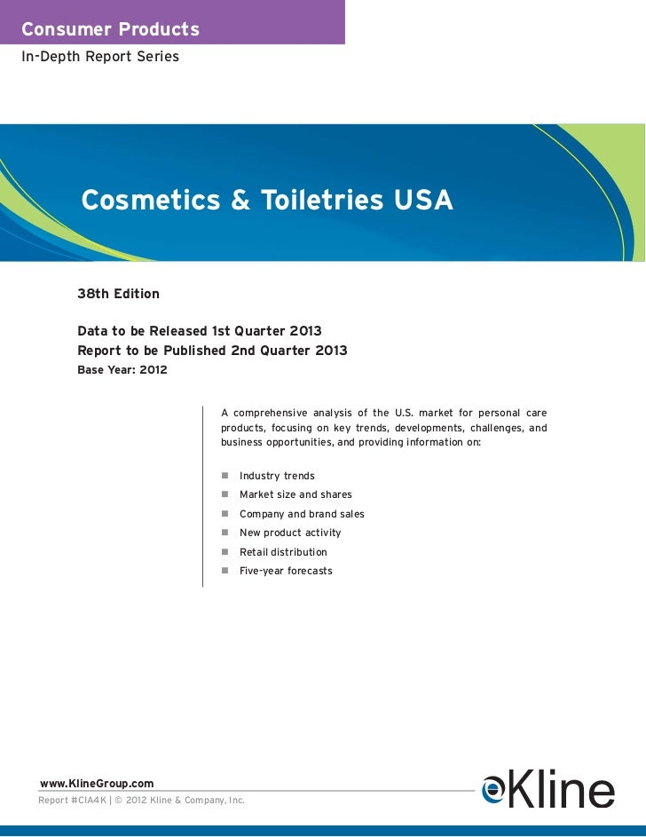 Consumer ProductsIn-Depth Report Series           Cosmetics & Toiletries USA          38th Edition          Data to be Rel...
