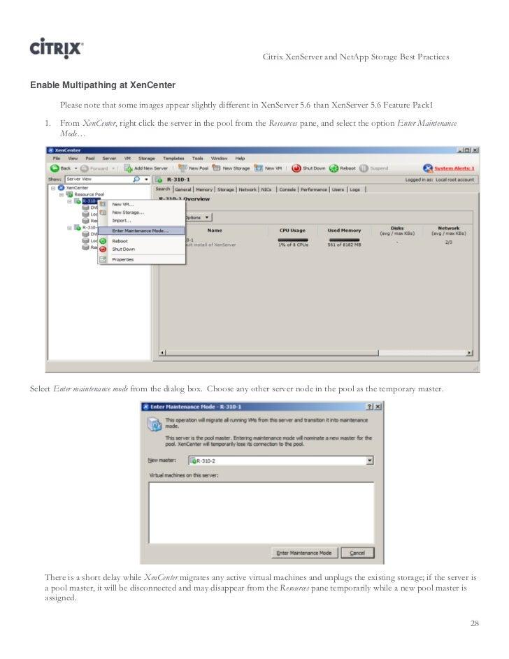 Ctx122737 1080 xen server netapp best practices for Xenserver show poolmaster