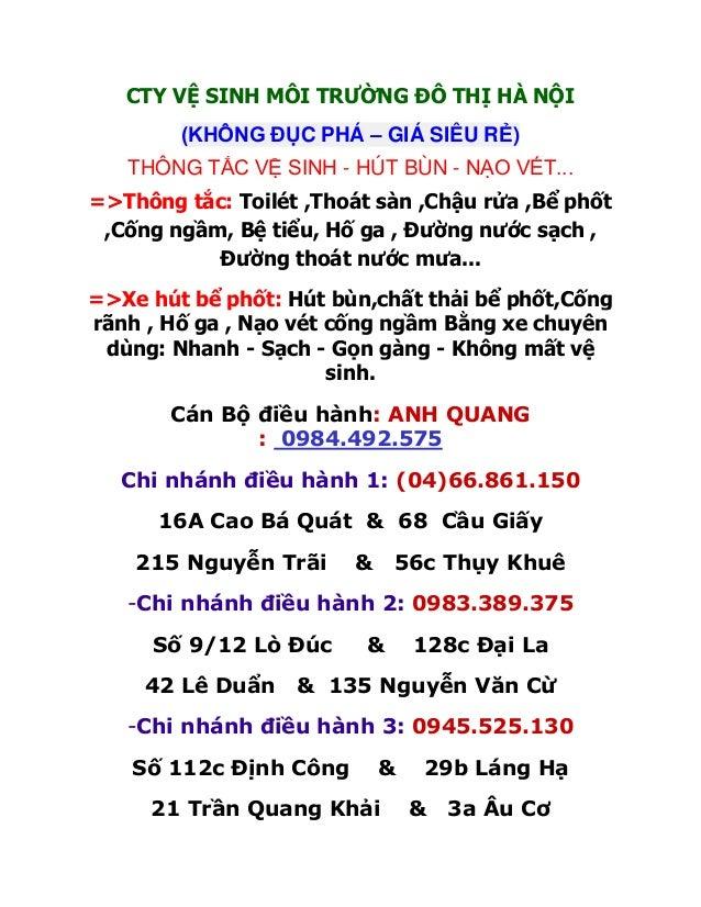 CTY VỆ SINH MÔI TRƯỜNG ĐÔ THỊ HÀ NỘI        (KHÔNG ĐỤC PHÁ – GIÁ SIÊU RẺ)   THÔNG TẮC VỆ SINH - HÚT BÙN - NẠO VÉT...=>Thôn...
