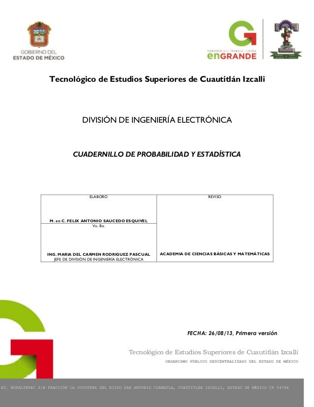 Tecnológico de Estudios Superiores de Cuautitlán Izcalli ORGANISMO PÚBLICO DESCENTRALIZADO DEL ESTADO DE MÉXICO AV. NOPALT...