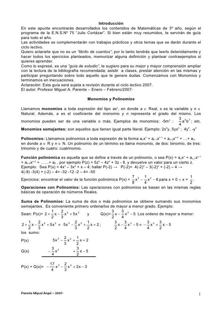 Introducción En este apunte encontrarás desarrollados los contenidos de Matemáticas de 3º año, según el programa de la E.N...