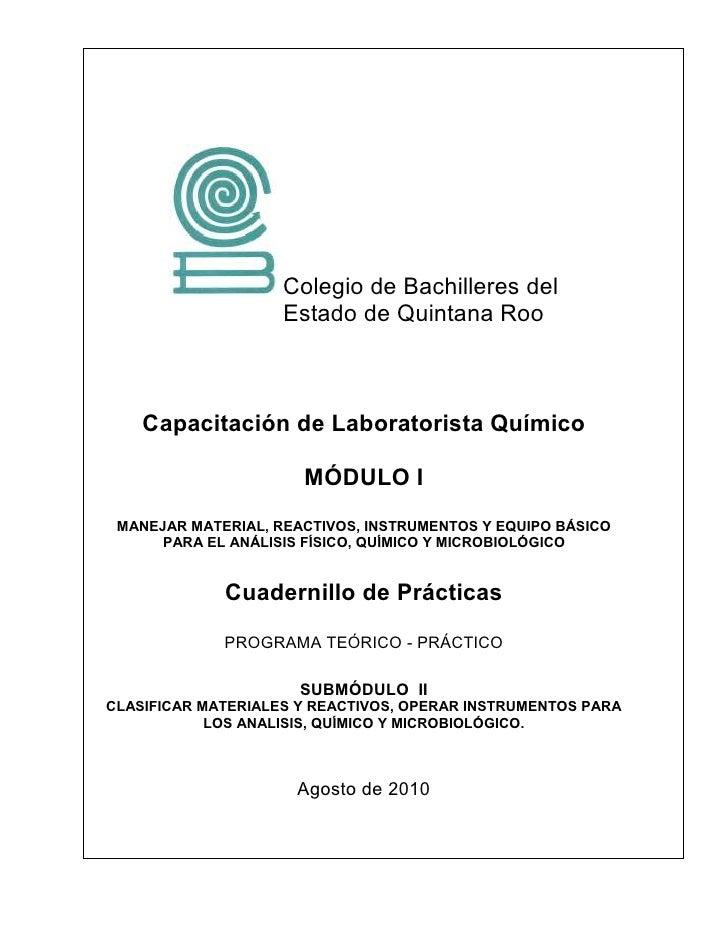 Colegio de Bachilleres del                    Estado de Quintana Roo    Capacitación de Laboratorista Químico             ...