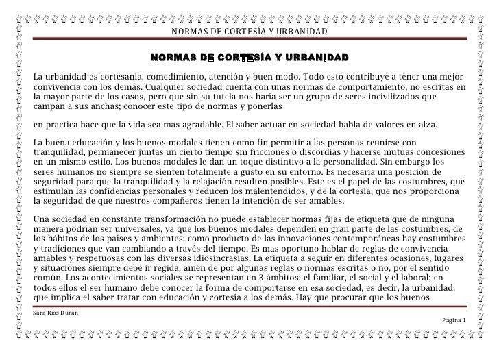 NORMAS DE CORTESÍA Y URBANIDAD                             NORMAS DE CORTESÍA Y URBANIDADLa urbanidad es cortesanía, comed...