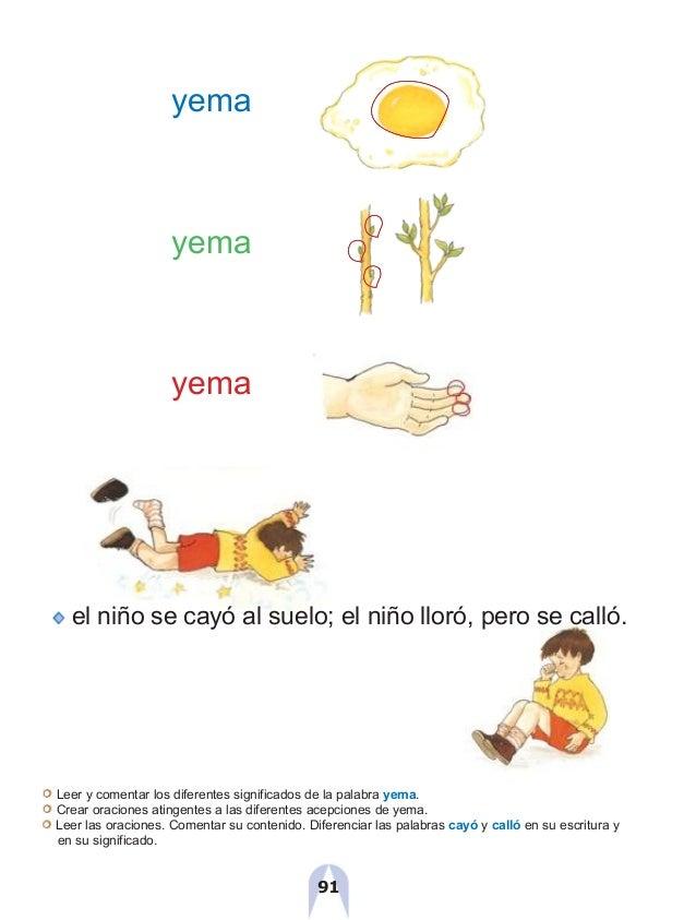 yema yema yema el niño se cayó al suelo; el niño lloró, pero se calló. Leer y comentar los diferentes significados de la p...