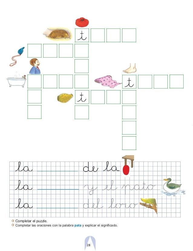 Completar el puzzle. Completar las oraciones con la palabra pata y explicar el significado. 28
