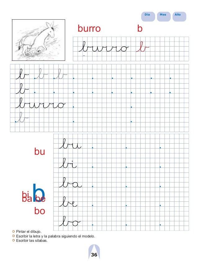 Día Mes Año burro b bu bi bba be bo Pintar el dibujo. Escribir la letra y la palabra siguiendo el modelo. Escribir las síl...