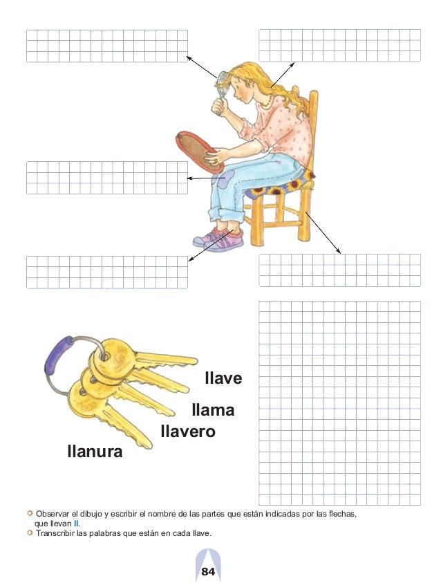 llave llama llavero llanura Observar el dibujo y escribir el nombre de las partes que están indicadas por las flechas, que...