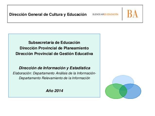 Subsecretaría de Educación Dirección Provincial de Planeamiento Dirección Provincial de Gestión Educativa Dirección de Inf...