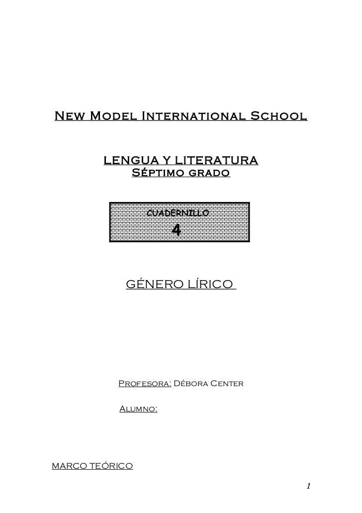 New Model International School        LENGUA Y LITERATURA           Séptimo grado                CUADERNILLO              ...