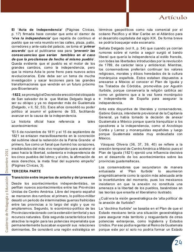 CuadernodePedagogíayEducaciónDiciembre201124El 'Acta de Independencia' (Páginas Cívicas,p. 17) firmada hace constar que an...