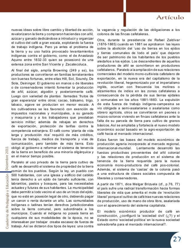 CuadernodePedagogíayEducaciónDiciembre201127nuevas ideas sobre libre cambio y libertad de acción,revalorizaron la tierra y...