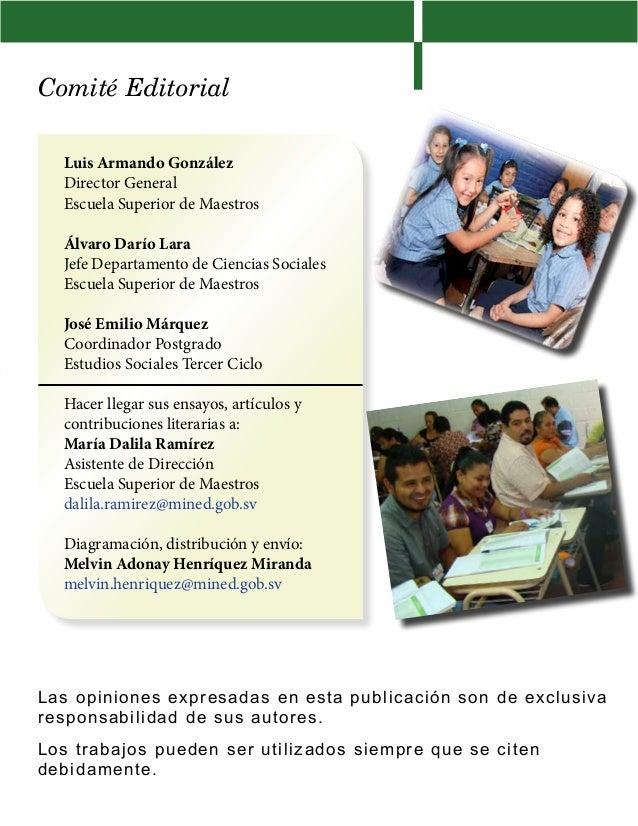 Comité EditorialLuis Armando GonzálezDirector GeneralEscuela Superior de MaestrosÁlvaro Darío LaraJefe Departamento de Cie...
