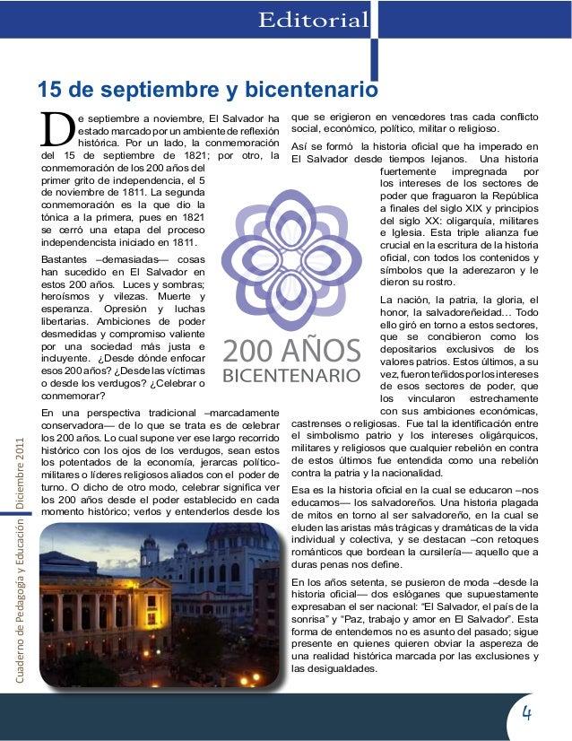 CuadernodePedagogíayEducaciónDiciembre20114EditorialDe septiembre a noviembre, El Salvador haestado marcado por un ambient...