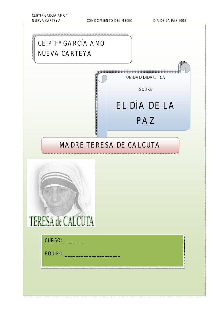 """CEIP""""Fº GARCIA AMO"""" NUEVA CARTEYA           CONOCIMIENTO DEL MEDIO           DIA DE LA PAZ 2008        CEIP""""Fº GARCÍA AMO ..."""