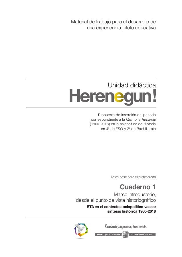 Propuesta de inserción del periodo correspondiente a la Memoria Reciente (1960-2018) en la asignatura de Historia en 4º de...
