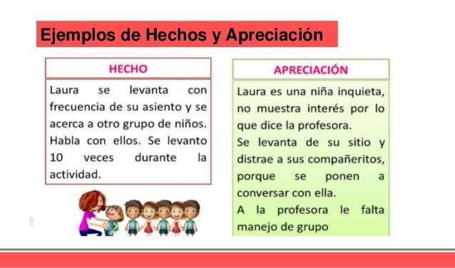 Ejemplos de Hechos y Apreciación