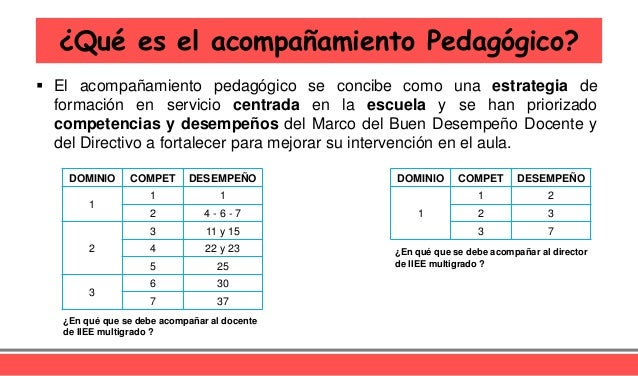  El acompañamiento pedagógico se concibe como una estrategia de formación en servicio centrada en la escuela y se han pri...